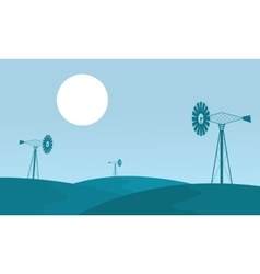 Landscape of windmill on the hill vector
