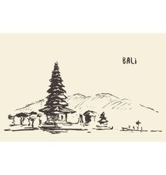 Pura ulun danu bratan hindu temple bali indonesia vector