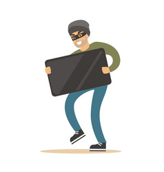 robber in mask carrying balck modern tv colorful vector image vector image