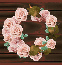rose flowers wreath delicate pink floral vector image