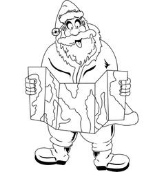 Santa Claus reading map vector image vector image