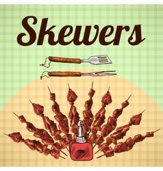 Skewers sketch poster vector