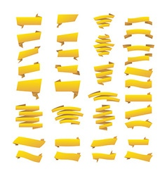 Yellow ribbons set Elements isolated on white vector image