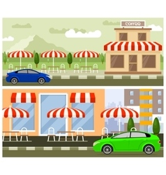 Roadside cafe flat design vector