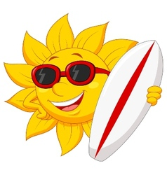 Cute sun cartoon character with surfing board vector