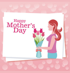 happy mothers day woman flowers dots background vector image