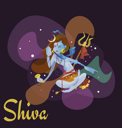 Lord shiva indian god in the lotus position and vector