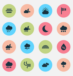 Weather icons set collection of douche night vector