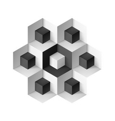 abstract geometric object with cubes on white vector image