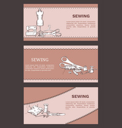 Hand drawn tailoring horizontal banners vector