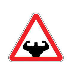 Attention bodybuilding athlete on red triangle vector