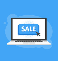 Mouse cursor clicks the sale button laptop vector