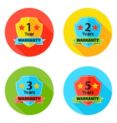 Warranty flat circle icons set 2 with shadow vector