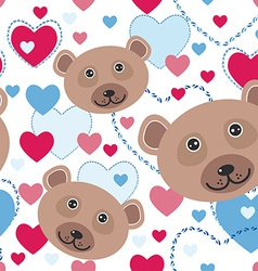 Seamless pattern with funny cute face bear pink vector