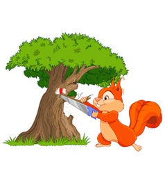 Funny squirrel saws tree branch vector