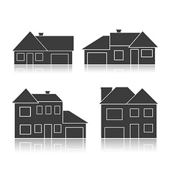 Set of black silhouettes cottages vector image