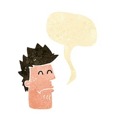 Cartoon man feeling sick with speech bubble vector