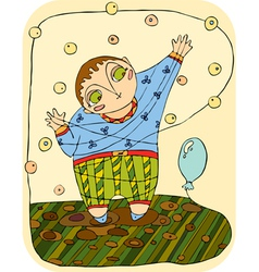 boy plays with a balloon vector image