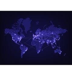 Night world map vector image