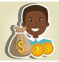 Person with dollar and pound sterling isolated vector