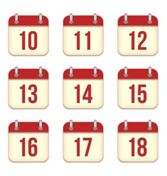 calendar app icons 10 to 18 days vector image vector image