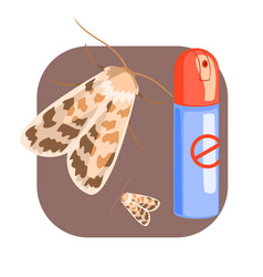 Can of moth insecticide colorful cartoon vector