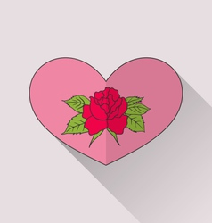 Celebration romantic heart with flower rose for vector image vector image