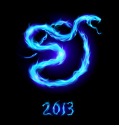Christmas card with blue fire snake on black vector