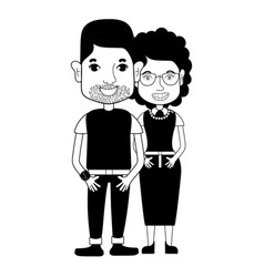 Contour nice couple with hairstyle and casual vector