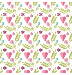Cute flat background pattern with flowers vector