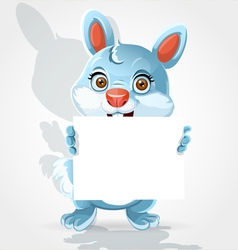 Cute little bunny holding banner vector image vector image