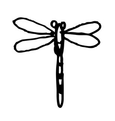 Dragonfly doodle hand drawn vector