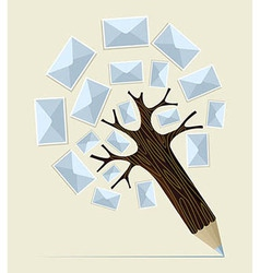 E-mailing concept pencil tree vector