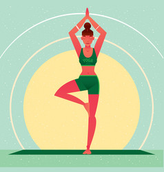 girl standing in yoga tree pose or vrikshasana vector image