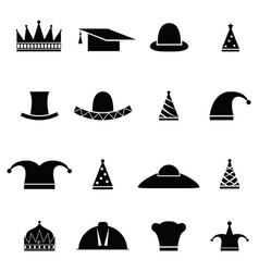 hat icon set vector image vector image