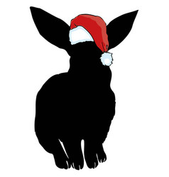 Icon cute baby christmas bunny rabbit in santa vector