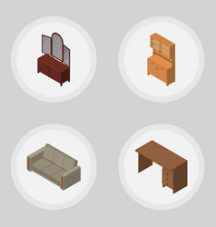 Isometric furniture set of table couch drawer vector