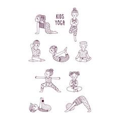 kids yoga set children perform exercises asanas vector image