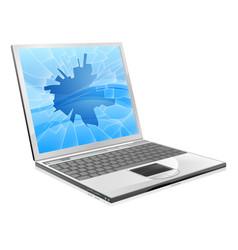 laptop with broken screen vector image vector image