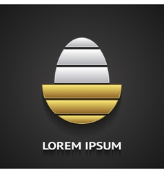Logo template in shape of golden egg vector image vector image