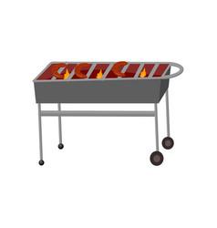 Metallic brazier on high legs cartoon vector