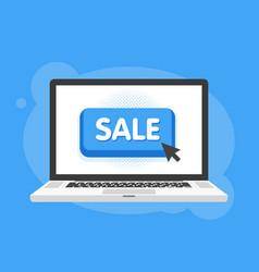Mouse cursor clicks the sale button laptop vector