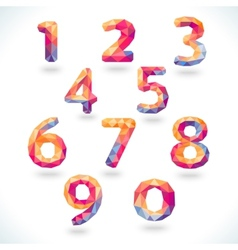 Numbers set in modern polygonal crystal style vector image