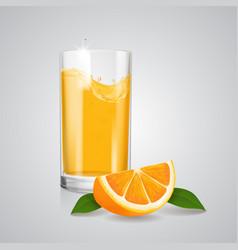orange juice realistic glass and orange slice vector image vector image