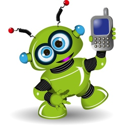 Robot and phone vector