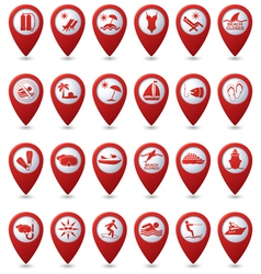 Set of 24 pointers sea and beach red vector image