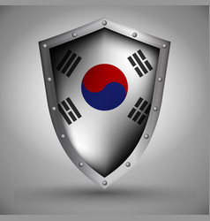 Shield with the south korea flag vector