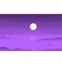 Silhouette of fields and fog at night vector