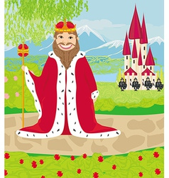 Smiling king looks at the castle vector