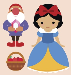 Snow white and gnome vector